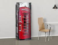 Виниловая наклейка на холодильник Телефонная будка 03 ламинированная двойная, лицевая, 600*2000 мм