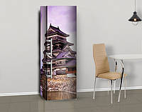 Виниловая наклейка на холодильник Дом с китайской крышей ламинированная двойная, лицевая, 600*2000 мм