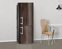 Виниловая наклейка на холодильник Под темное дерево деревянный ламинированная двойная, лицевая, 600*2000 мм