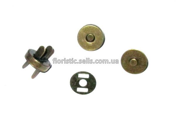 Застежка/кнопка - магнит 1,4 см, бронза