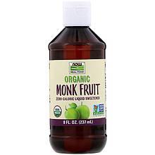 """Жидкий подсластитель архат NOW Foods """"Organic Monk Fruit"""" с нулевой калорийностью (237 мл)"""