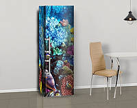 Виниловая наклейка на холодильник Голубые кораллы ламинированная двойная, лицевая, 600*2000 мм