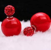 Серьги пуссеты, фактура перламутр, цвет красный, гвоздик красный декорирован кристаллами