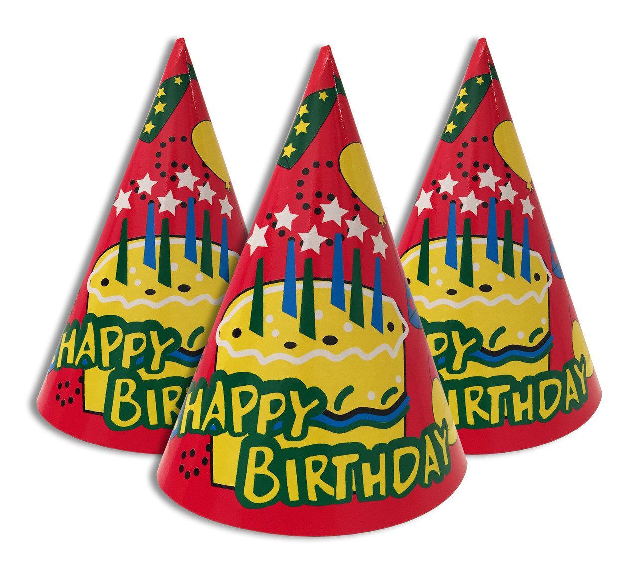 Колпак 16 см Торт со свечками красный Happy birthday