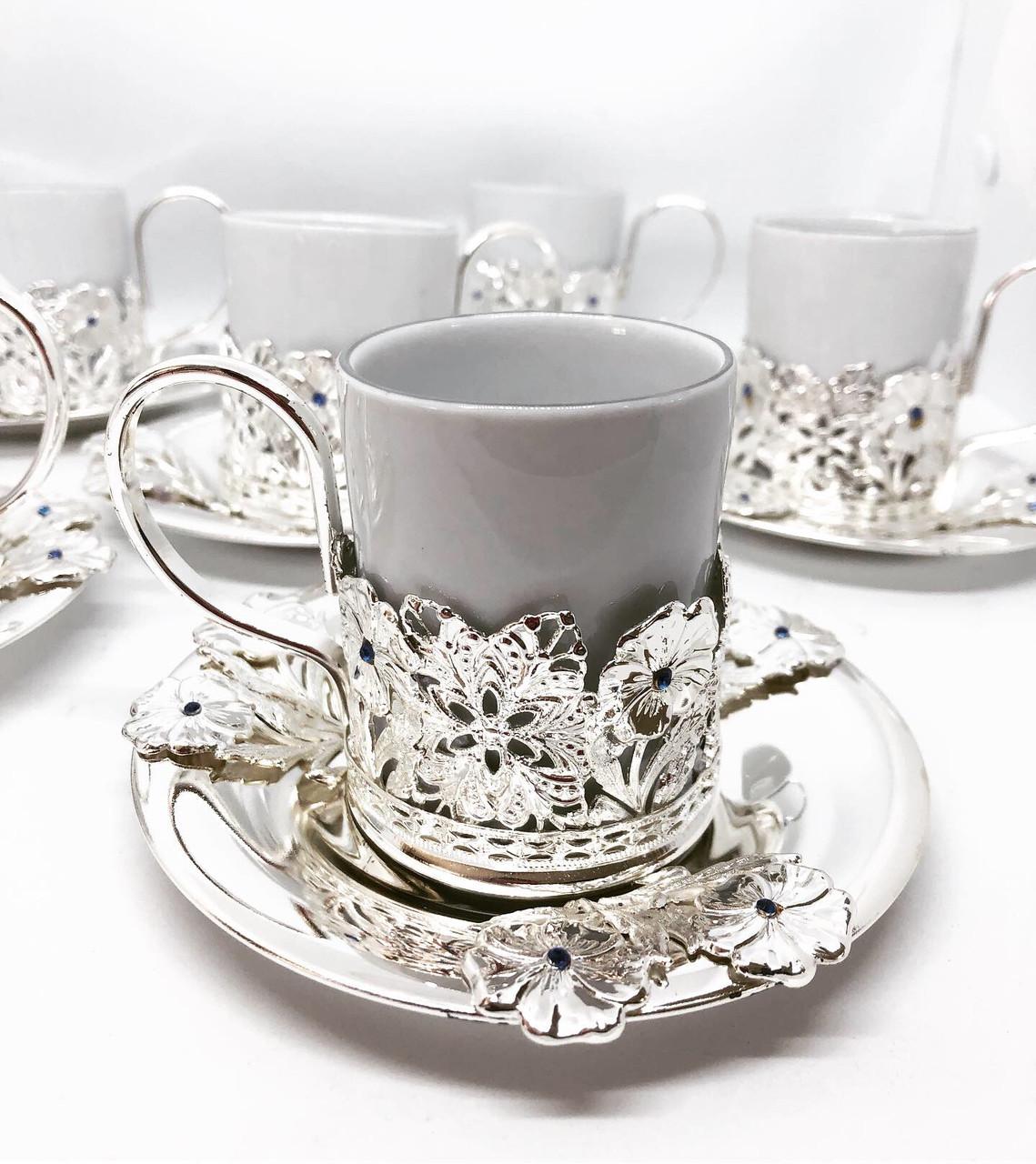 Кофейный сервиз MCA Vizyon из мельхиора с посеребрением и камнями сваровски на 6 персон