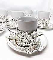 Кофейный сервиз MCA Vizyon из мельхиора с посеребрением и камнями сваровски на 6 персон, фото 1