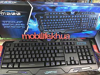 Игровая проводная клавиатура/3 режима подсветки/Красный,Синий и Фиолетовый/Русский клавиатура/