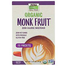 """Подсластитель архат NOW Foods """"Organic Monk Fruit"""" с нулевой калорийностью (70 пакетиков по 1 г)"""