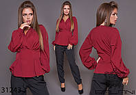 Блузка с запахом на груди и длинным рукавом на манжете с 42 по 46 размер