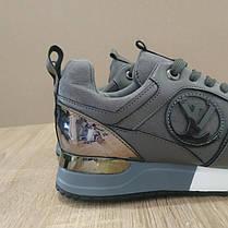 37 розмір Кросівки Louis Vuitton Run Away сірі чорні еко шкіра, замша еко Луї Віттон (КОПІЯ), фото 3