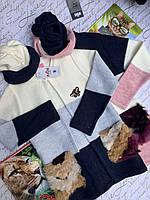 Кардиган+шапочка на девочку, р. 7-14, микс цветов