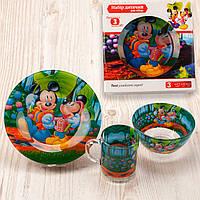 "Набор посуды для детей «Микки Маус"" 3-х предметный. (Тарелка 195 мм, пиала 320 мл, чашка 250 мл)."