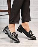 Лоферы женские кожаные с декором черные, фото 2