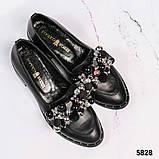 Лоферы женские кожаные с декором черные, фото 4