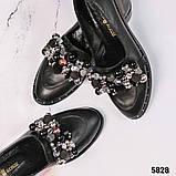 Лоферы женские кожаные с декором черные, фото 5