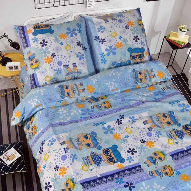 """Детский полуторный комплект постельного белья """"Лол"""" на голубом"""