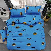 """Детский полуторный комплект постельного белья """"Бетмен"""" синий"""