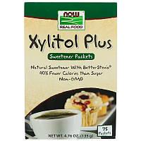 "Ксилитол + стевия NOW Foods, Real Food ""Xylitol Plus"" сахарозаменитель (75 пакетиков по 1,8 г)"