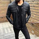 Мужская стильная кожанка (черная) - Турция, фото 5