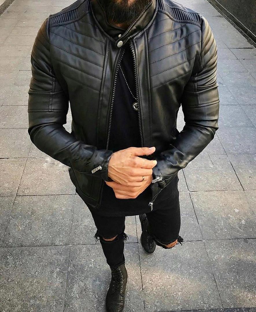 Мужская стильная кожанка (черная) - Турция