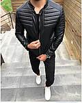 Мужская стильная кожанка (черная) - Турция, фото 3