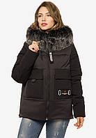 Зимова жіноча коротка куртка з хутром Modniy Oazis чорний 90392, фото 1