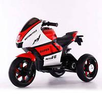 Детский электромобиль мотоцикл 135, кожаное сидение, свет колёс, дитячий мотоцикл, красно-белый