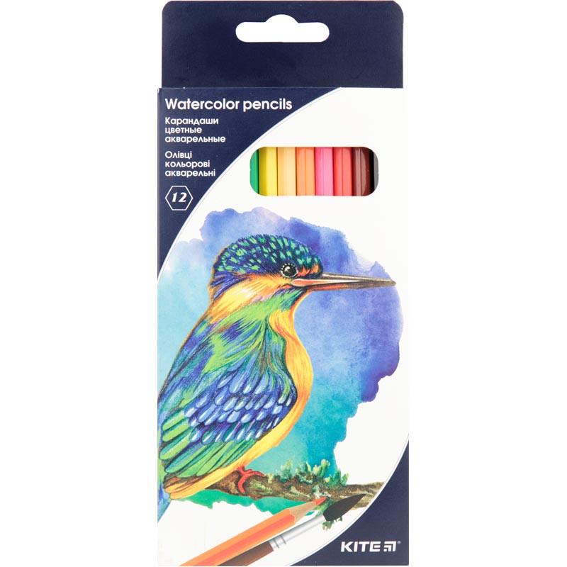 """Олівці кольорові акварельні, 12 шт. Kite """"Птахи"""""""