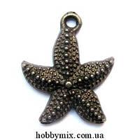 """Метал. подвеска """"морская звездочка"""" бронза (2х2,4 см) 8 шт в уп."""