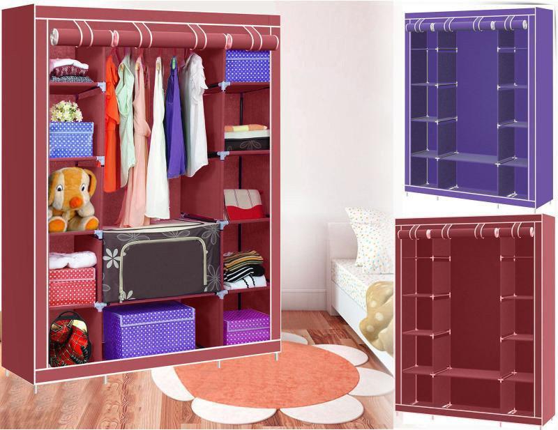 Складной тканевый шкаф на три секции HCX Storage Wardrobe 68130, органайзер для хранения вещей