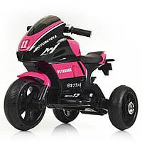 Детский электромобиль мотоцикл 135, кожаное сидение, свет колёс, дитячий мотоцикл, розовый