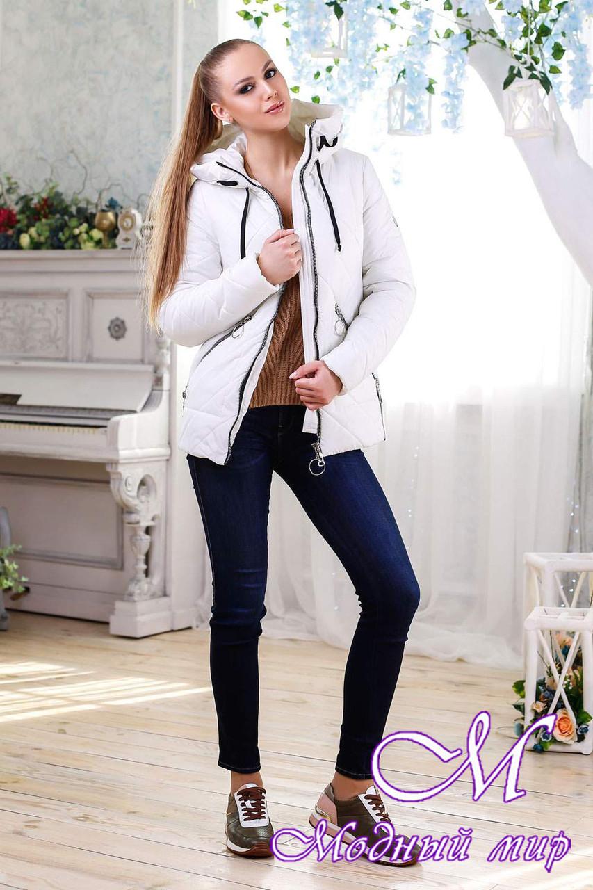 Женская белая демисезонная куртка (р. 44-58) арт. 1091 Тон 25