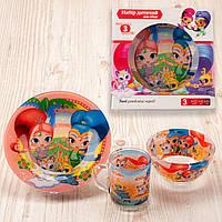 """Набор посуды для детей «Принцессы"""" 3-х предметный. (Тарелка 195 мм, пиала 320 мл, чашка 250 мл)."""