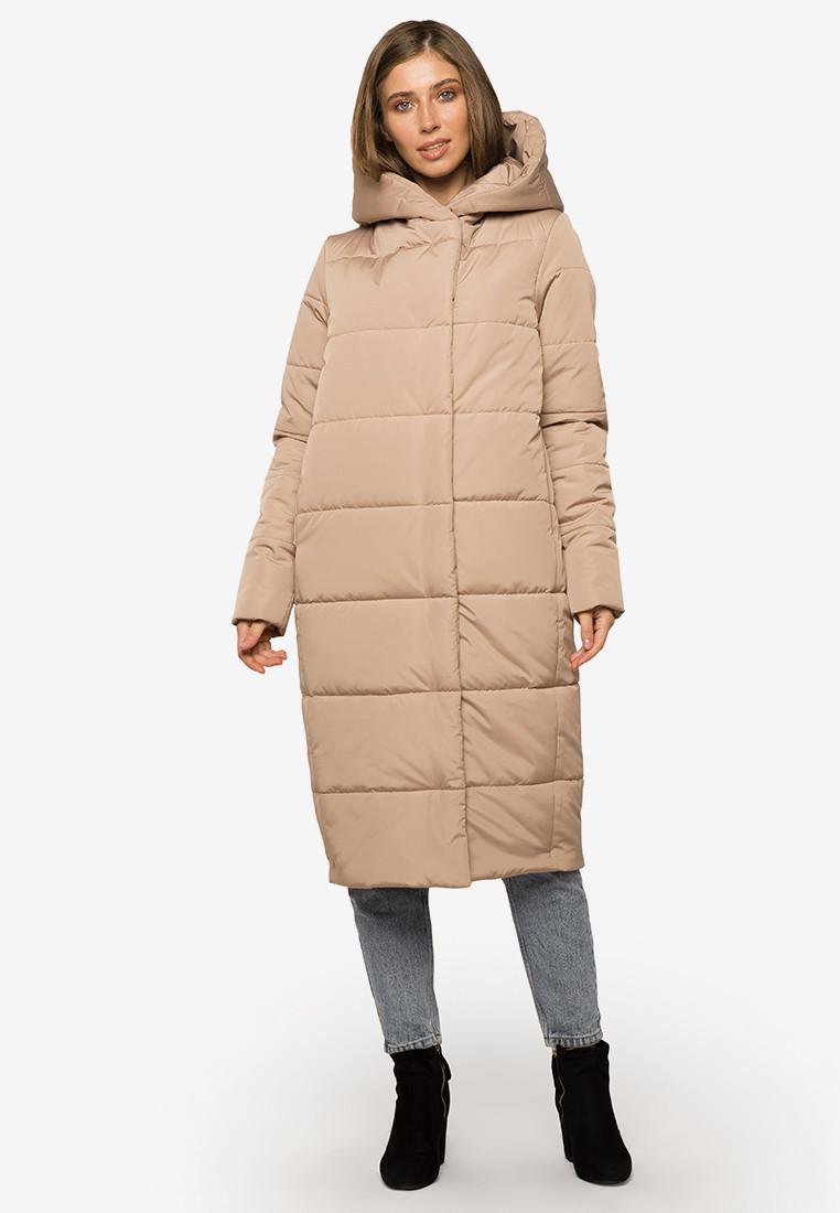 Длинная теплая зимняя женская куртка с капюшоном Modniy Oazis бежевый 90393/3, фото 1