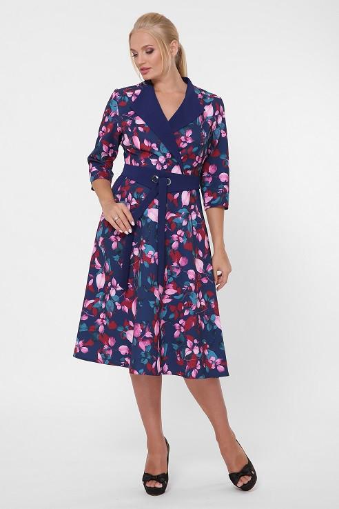 Платье в деловом стиле Хлоя цветы (50-56)