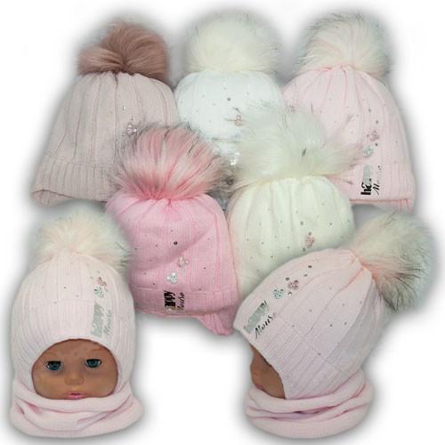Детский комплект - шапка и шарф (хомут) для девочки, р. 48-50