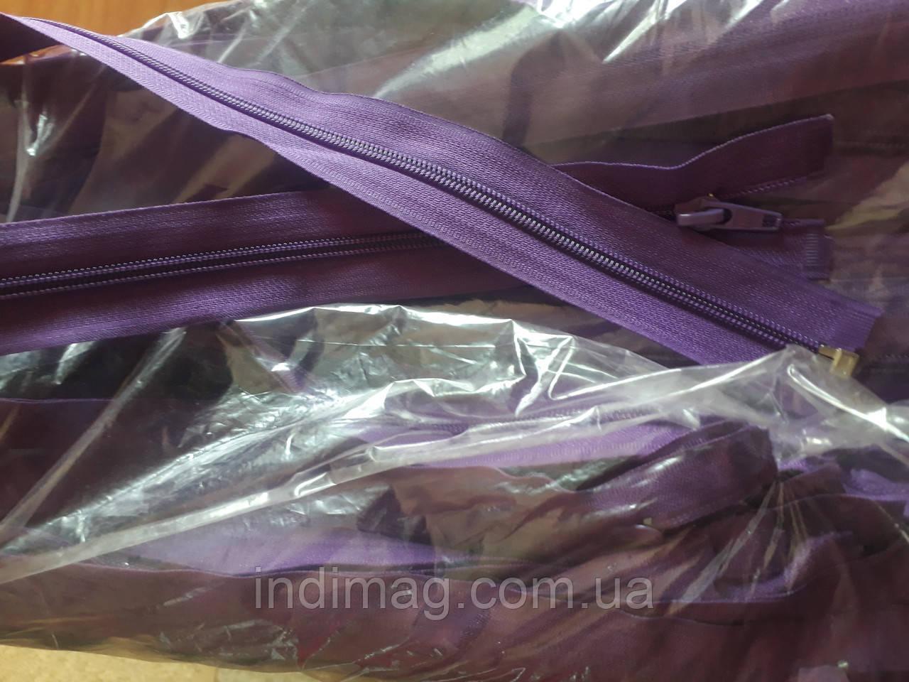 Молния змейка Пластик  фиолетовый  50 штук размер 75 см