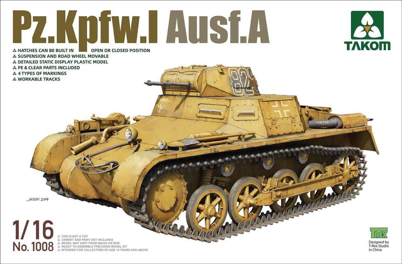 Pz.Kpfw.I Ausf.A. Сборная модель немецкого танка. 1/35 TAKOM 1008