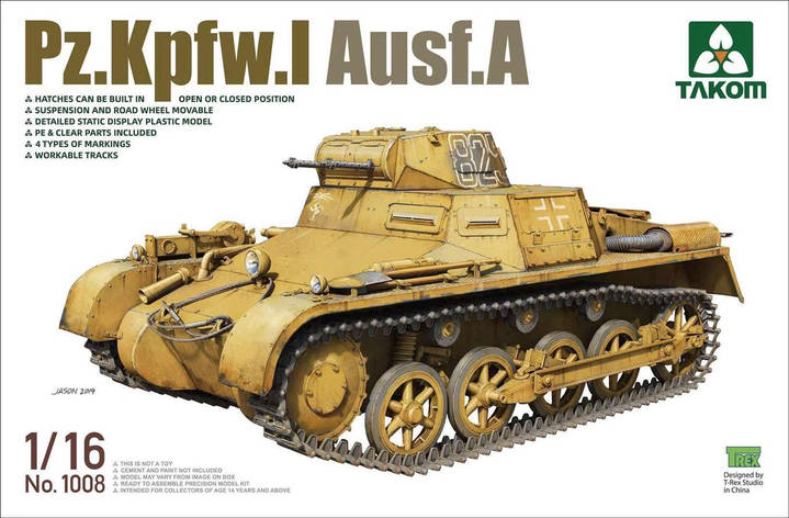Pz.Kpfw.I Ausf.A. Сборная модель немецкого танка. 1/35 TAKOM 1008, фото 2