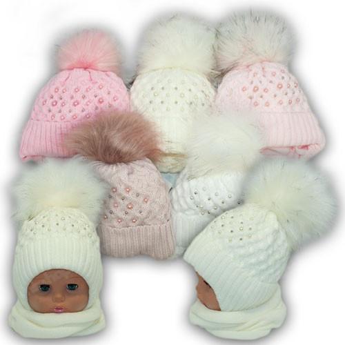 ОПТ Детский комплект - шапка и шарф (хомут) для девочки, р. 44-46 (5шт/набор)
