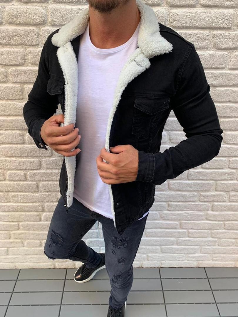 Куртка джинсовая мужская осенняя с мехом ZARA MAN черная Турция. Живое фото
