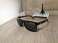 Солнцезащитные очки Armani Wayfarer (стекло) форма Ray Ban, черные глянцевые