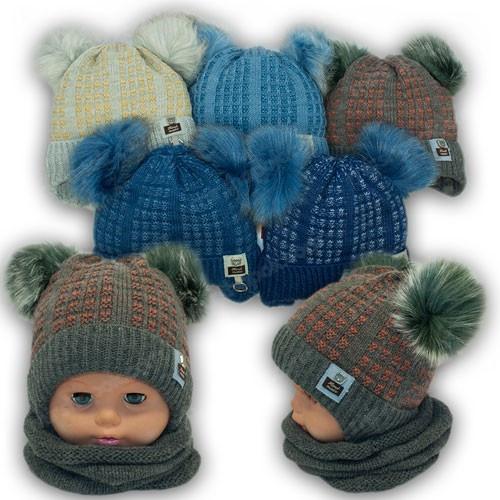 Детский комплект - шапка и шарф (хомут) для мальчика, р. 42-44