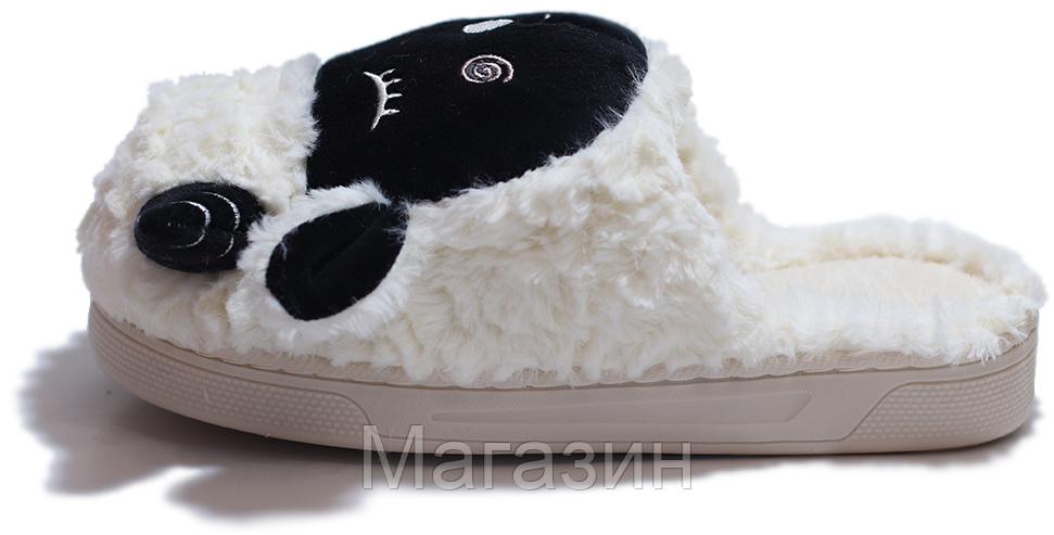 "Домашние теплые тапочки овечки с ушками Sleepy Sheep ""Black/White"" белые"