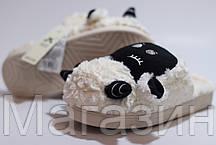 "Домашние теплые тапочки овечки с ушками Sleepy Sheep ""Black/White"" белые, фото 2"