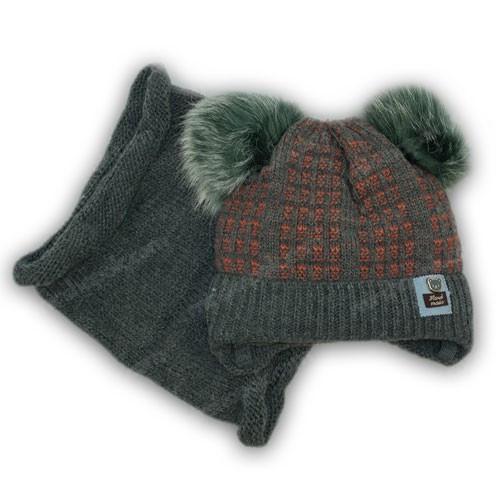Детский комплект - шапка и шарф (хомут) для мальчика
