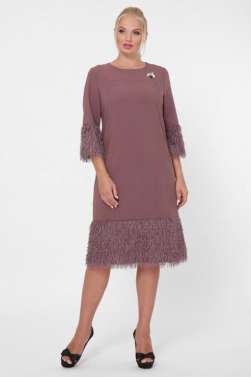 Коктейльное платье Тереза шоколад (50-58)