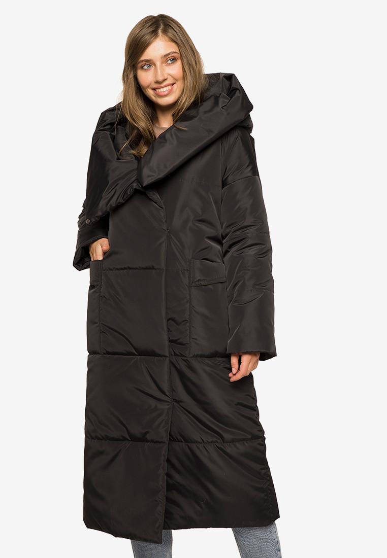 Зимняя женская длинная куртка-одеяло с цельным капюшоном Modniy Oazis черный 90395, фото 1