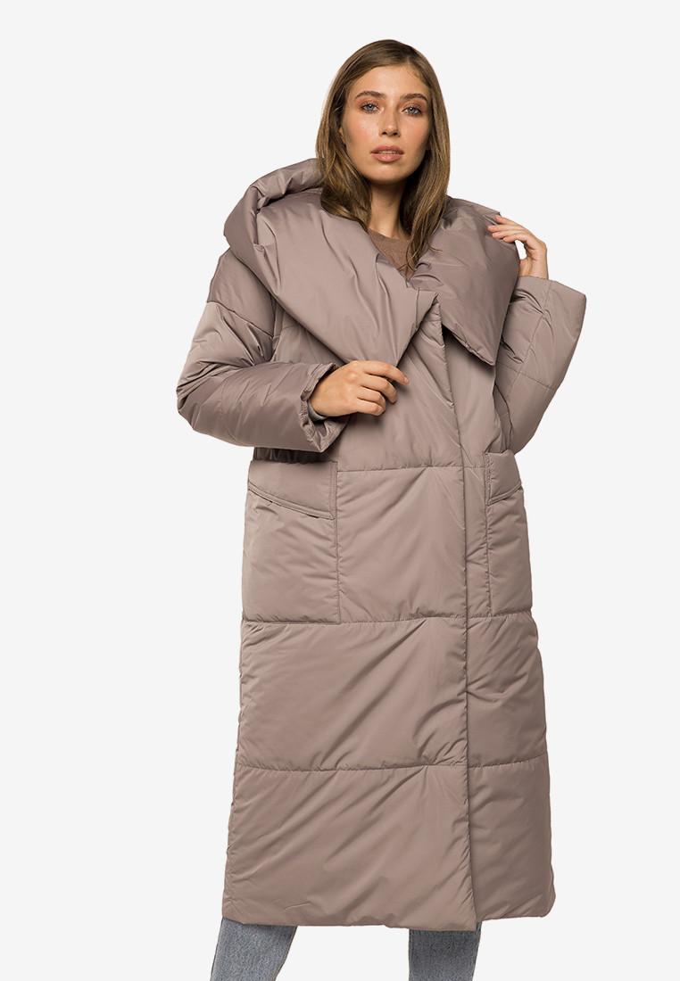 Зимняя женская длинная куртка-одеяло с цельным капюшоном Modniy Oazis серый 90395/1, фото 1