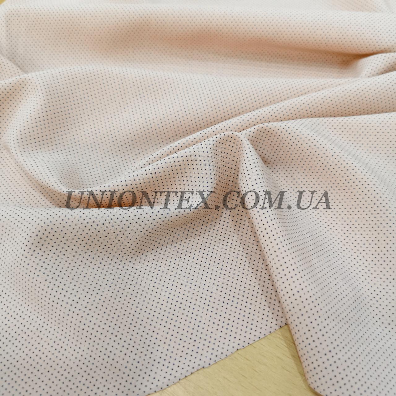 Ткань супер софт принт мелкий горох на персиковом